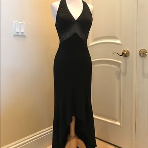 NWOT Blondie Nites  Black and mesh beads sexy gown